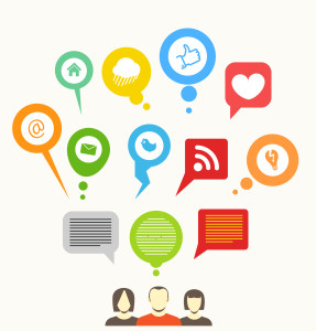 Social media network abstract speech bubbles